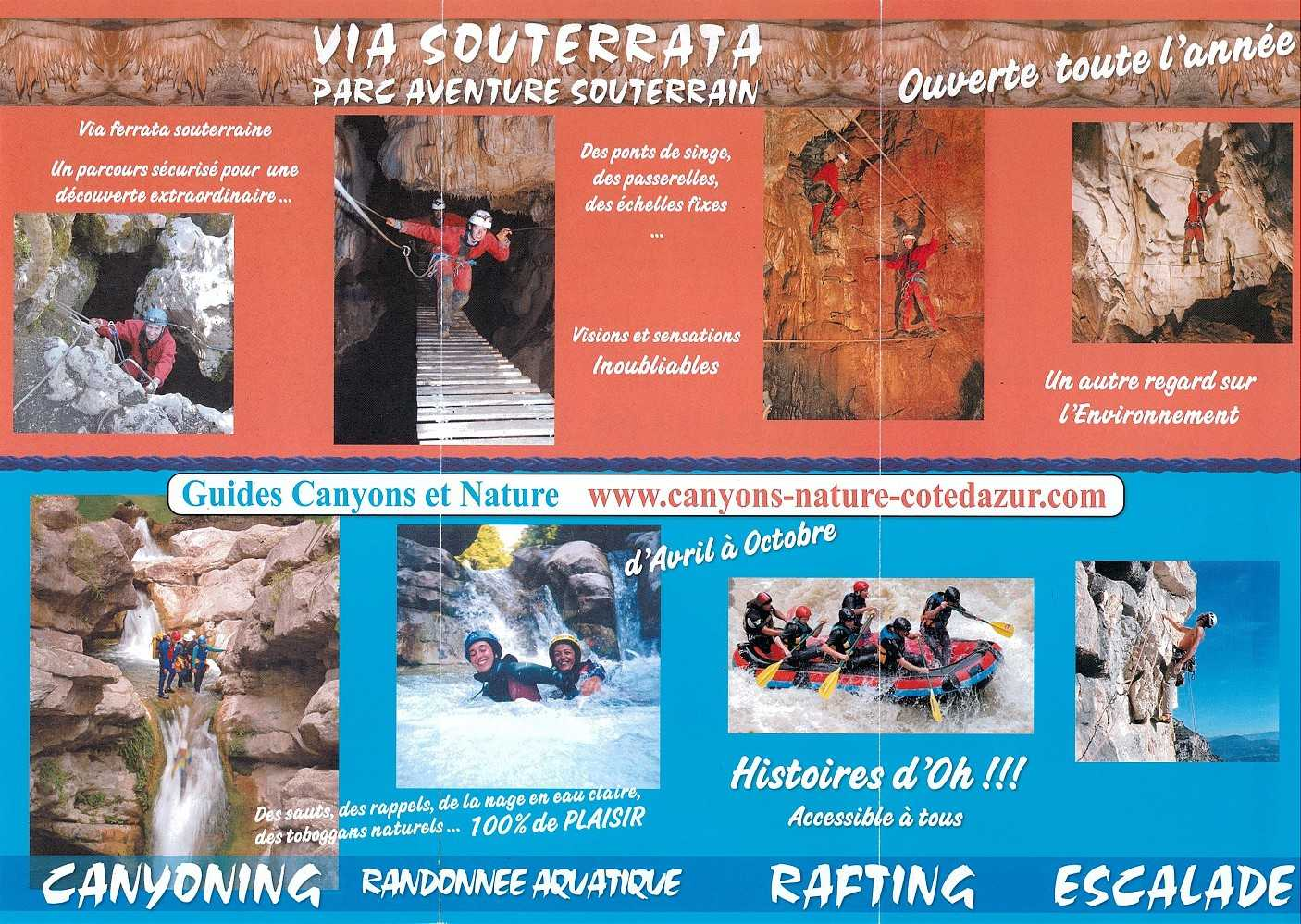 canyoning randonnées rafting escalade via souterrata canyons