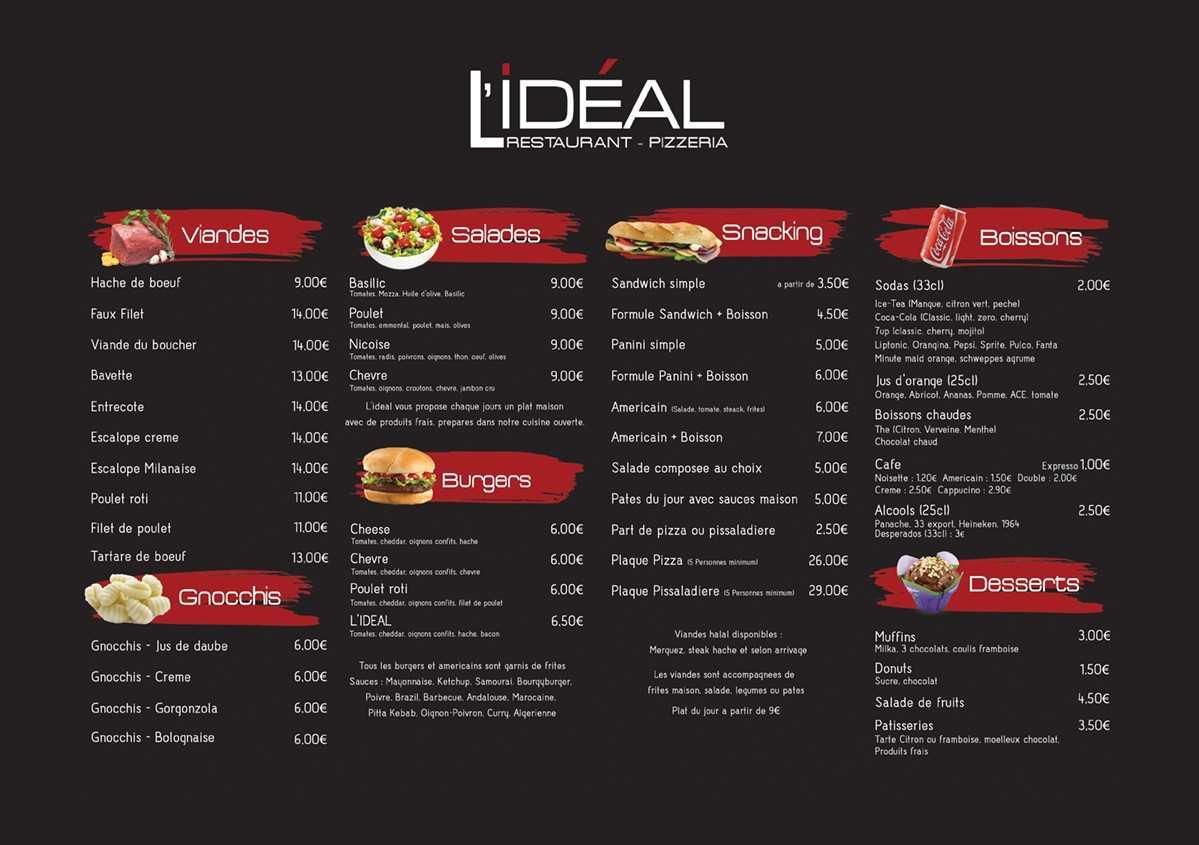 viandes salades sandwichs burgers gnocchis halal pizza  pissaladière