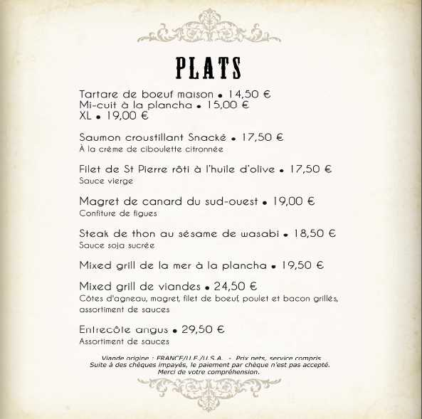 Tartare St Pierre Mixed grill entrecote angus