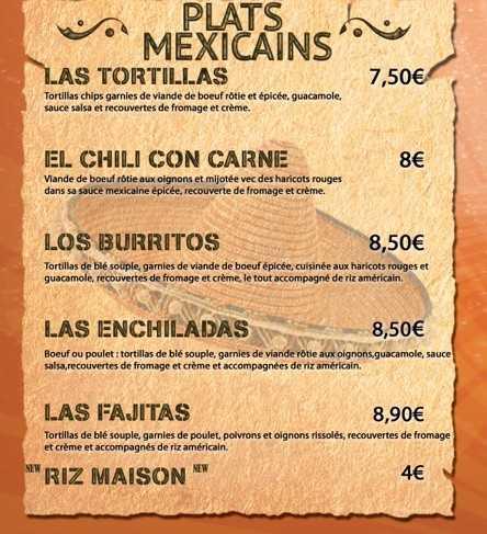 Fajitas Burritos Chili Con Carne